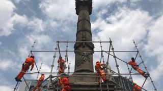 Se inició la colocación del andamiaje en el Ángel de la Independencia; el primer paso para su rehabilitación
